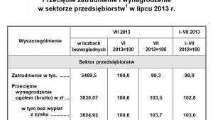 Przeciętne wynagrodzenie i zatrudnienie w sektorze przedsiębiorstw w lipcu 2013. Źródło: GUS