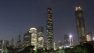 Budowa 530-metrowego wieżowca Guangzhou CTF Finance Center w mieście Kanton w Chinach. Zostaną w nim zainstalowane najszybsze windy na świecie.