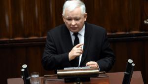 Prezes PiS Jarosław Kaczyński przemawia podczas debaty nad expose w Sejmie.