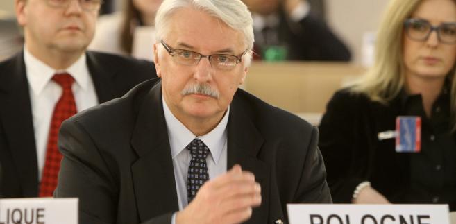 Witold Waszczykowski podczas sesji Rady Praw Człowieka ONZ w Genewie.