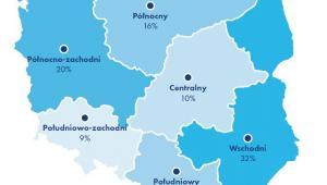 """Miejsce zamieszkania a chęć emigracji. Źródło: Raport Work Service """"Migracje zarobkowe Polaków""""."""