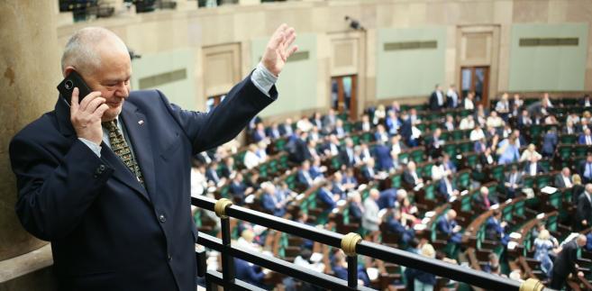 Adam Glapiński na sejmowej galerii podczas posiedzenia Sejmu