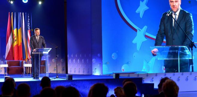 Minister skarbu państwa Dawid Jackiewicz podczas sesji inauguracyjnej w pierwszym dniu XXVI Forum Ekonomicznego