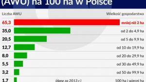 Liczba rocznych jednistek pracy na 100 ha w Polsce
