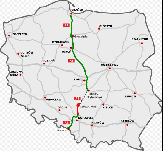 Autostrada A1. Na zielono: odcinki istniejące. Na czerwono: odcinki w budowie. Autor mapy: rzyjontko (talk) - road plan based on GDDKiA website (Polish Motorways Authority)sections under construction based on SkyskraperCity stats, CC BY 3.0