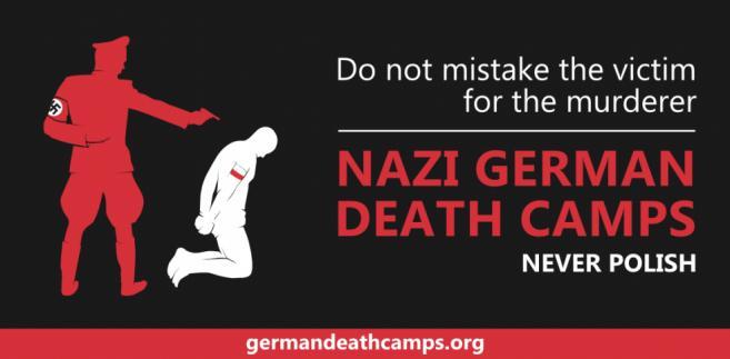 """Jedna z grafik, jaką wklejają internauci w ramach akcji, mającej na celu zwalczanie używania określenia """"polskie obozy zagłady"""". Źródło: germandeathcamps.org"""