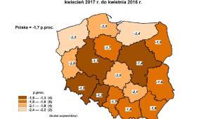 Stopa bezrobocia w kwietniu 2017, źródło: GUS
