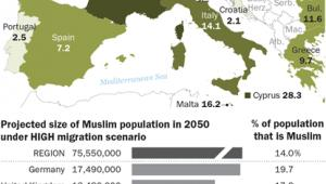 Odsetek muzułmanów w populacjach krajów UE (trzeci scenariusz) źródło: Pew Research Center