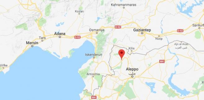 Pogranicze Turcji i Syrii z zaznaczonym miastem Afrin. Źródło: Google Maps