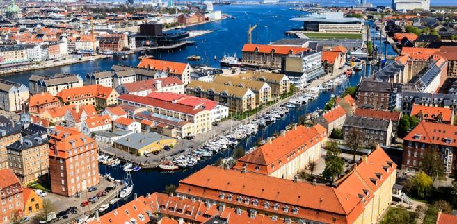 Widok z lotu ptaka na Kopenhagę