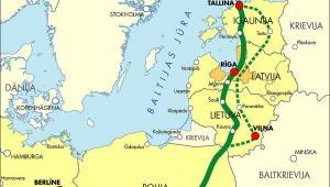 Transeuropejski szlak Rail Baltica, łączący Helsinki, Tallin, Rygę, Wilno, Warszawę i Berlin. Źródło: Ministerstwo transportu i komunikacji Łotwy