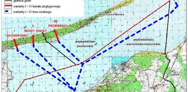 Warianty budowy kanału żeglugowego przez Mierzeję Wiślaną. Resort wybrał wariant II, czyli przekopu przez miejscowość Nowy Świat. Źródło: Urząd Morski w Gdyni