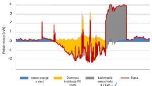 Przykładowy dzienny domowy profil zużycie-produkcji energii