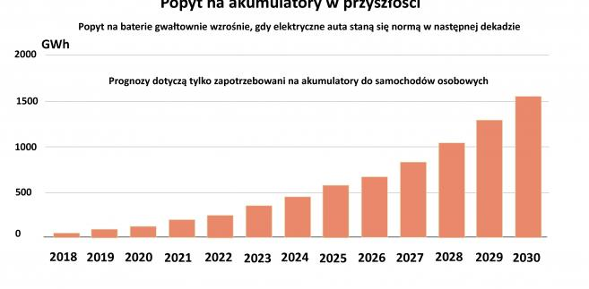 Popyt na akumulatory - prognoza do 2030 r.