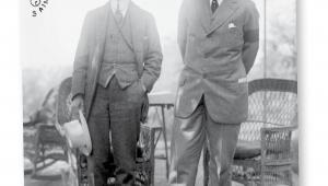Prezydent USA Woodrow Wilson i jego doradca Edward Mandell House (z lewej) fot. Biblioteka Kongresu USA