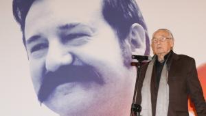 Andrzej Wajda w trakcie konferencji prasowej filmu Wałęsa