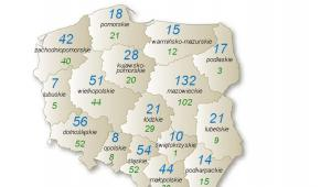 Upadłości w poszczególnych województwach w Polsce (mapa), źródło: Euler Hermes